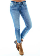 [69 52] MISS ME WOMENS MEDIUM BLUE EMBROIDERED CROPPED SKINNY JEANS SZ 30 INCH