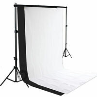 Black White Two Backdrops Photo Studio 2m Background Stand Support Free Case