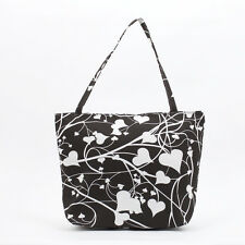 NEW fun black and white love heart cotton Shopper Tote Beach Bag, Knitting Bag
