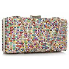 CLUTCH hand BAG diamante 190 WEDDING crystal evening chain sparkly multi colour