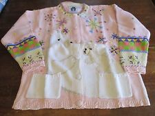 Collectible HSN Storybook Knits Cardigan Sweater 1xl xl 1x Mom Baby Bear Pink