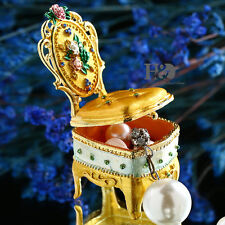 Handmade Crystal Metal Chair Jewelry Trinket Boxes Figurines Wedding Decor Gifts
