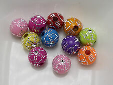 200 Mixed Colour Acrylic Sparkling Silver Flower Pattern Round Beads 8mm