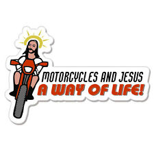 """Motorcycle and Jeusus Way of Life  car bumper sticker decal 8"""" x 3"""""""