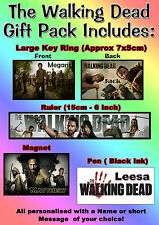 Personalised The Walking Dead Gift Set Pack, Key Ring, Magnet, Pen, Ruler - Name
