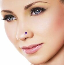 0.15 Ct Amethyst Solitaire Wedding 10K White Gold Over Nose Piercing Stud Ring