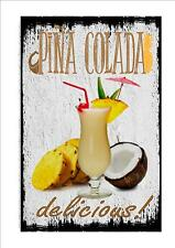 Pina Colada Novelty Metal Door Wall Sign Kitchen Sign Pub Sign Cocktail Bar