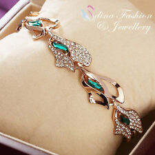 18K Rose Gold Filled Genuine Swarovski Crystal Unique Emerald leaf Bracelet