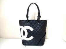 Authentic CHANEL Black*Ivory Cambon Line Medium Tote bag A25167 Leather