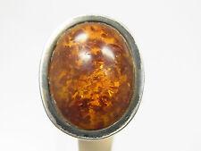Schöner Bernstein Ring  835 Silber honigfarben feine Fassung um 1950