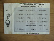 1980/1 Tottenham Spurs v Arsenal - League Cup 4th Round - Used Ticket