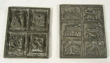 2 Sets Antique Springerle Pewter Cookie Candy Butter Press Molds ~ 10 Molds