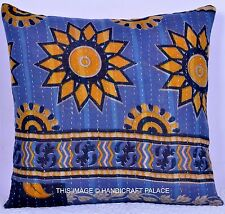 """Decorative Pillow Case Reversible Kantha Vintage Cushion Cover Indian Throw 16"""""""