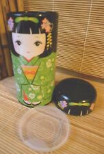 NEW JAPANESE LIME GREEN KOKESHI DOLL CYLINDRICAL TEA TIN CADDY MADE IN JAPAN