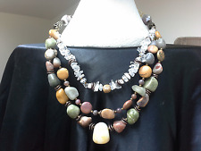 BOHEMIAN CHUNKY 4-in-1 multi-layer Luxe gemstones NECKLACE Botswana Agate Jasper