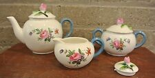 Crown Staffordshire Teapot, Sugar Bowl, Creamer  Rose Bud Finial White with Blue