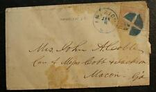 MRS. John Cobb 1868 Cancel Cover, GRILL AMERICUS, GA. CANCEL/STAMP