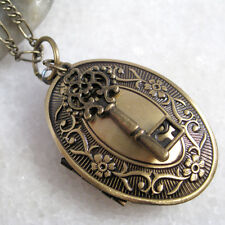 Key Charm Flower Oval Brass Picture Photo Locket Pendant Statement Necklace
