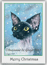 PACK OF 6  EXCLUSIVE DEVON REX CAT IN SNOW CHRISTMAS CARDS BY SUZANNE LE GOOD