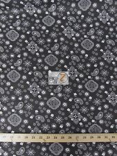 100% COTTON PRINTED FABRIC PAISLEY BANDANNA  - Black - HEADSCARF SOLD BY YARD