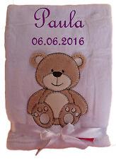Babydecke weiß Teddy mit Namen bestickt Baby Decke Taufe Geburt Geschenk Name