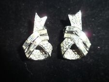 Trifari Vintage Antique Cluster Earrings Rhinestone Crystal Statement Signed