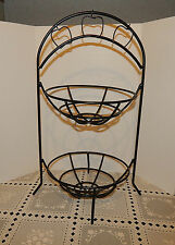 BLACK WROUGHT IRON APPLE FRUIT STORAGE RACK METAL STAND VEGETABLES,LOTS OF IDEAS