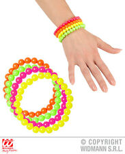 Neon Beaded Bracelets - Set of 4 Jewellery for 60s 80s Glow Party Fancy Dress