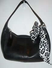 AUTH Coach VTG 9219 Black Leather Ergo Shoulder Sling Hobo Handbag Purse w/Scarf