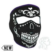 Sugar Skull MuerteTurquoise Neoprene Full Face Mask Biker Paintball Day of Dead