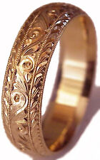 NEW HAND ENGRAVED WOMAN 14K ROSE GOLD 6MM WIDE WEDDING BAND RING COMFORT FIT