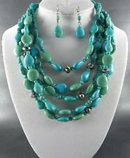 Five Layers Turquoise Lucite Bead And Small Glass Bead Necklace Earring Set