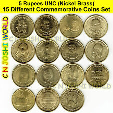 Very Rare 15 Different Nickel Brass 5 Rupees Commemorative Five Rupees Coins Set