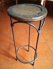 tavolo tavolino porta vaso in ferro battuto e rattan