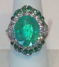 ASTONISHING GREEN EMERALD MAIN STONE 13.60 CT. SAPP GARNET 925 SILVER RING SZ 6