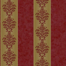 Stripe Wallpaper with Mottled Red and Gold Damask  RL9549 FREE SHIPPING