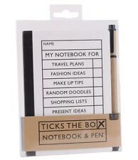Tick box note book and pen. Organiser. Gift. Note pad. Fashion, travel, recipes