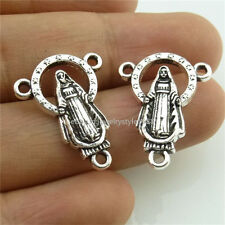 14000*25PCS Alloy Vintage Silver Tone Religious Faith Jesus Pendant Connector