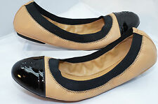 Tory Burch Gabby Beige Shoes Black Flats Ballet Size 8 Leather NIB