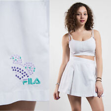 90'S FILA BRIGHT WHITE PLEATED TENNIS SKIRT SHORT MINI CASUALS HIGH WAIST 12