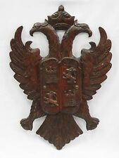 AMAZING ANTIQUE CARVED WOOD ARMORIAL DOUBLE EAGLE SPANISH COAT OF ARMS PLAQUE