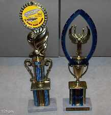 """18"""" + 17"""" CAR SHOW TROPHIES awards blue 3D HOLOGRAM real italian marble bases"""