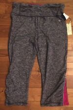 NWT Womens TANGERINE Heather Charcoal Zip Leg Active Running Yoga Capri Pants L