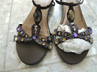 Womens Size 10 * BROWN EMBELLISHED WEDGE SANDALS * Bling Shoes NWT