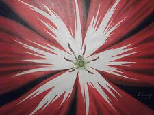 Rouge Blanc Fleur Grand Huile Peinture Toile Contemporain Moderne Abstract