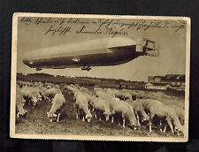 1937 Soun Germany Zeppelin in Flight Sheep Postcard Cover to Wernshausen