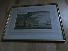 Kupferstich Stahlstich Gerahmtes Bild Vorstellung einer See-Schlacht zur Nacht-Z