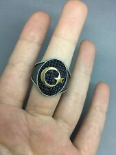 TURKISH ARABIC MEN's RING 925 STERLING SILVER BLACK ONYX AGATE STONE Size 10