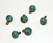 VINTAGE 6 ANTIQUE MOTTLED GLASS BEAD BALL PENDANTS TURQUOISE MATRIX 8mm