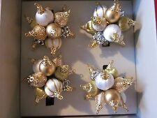 KIM SEYBERT GOLD SILVER WHITE  HOLIDAY ORNAMENTS NAPKIN RINGS SET 4 STUNNING